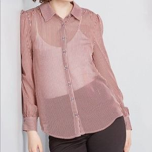 ModCloth Be Buzzworthy Sheer Button Up Top XL